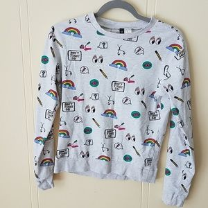 Divided H&M pullover sweater XS rainbow graphic